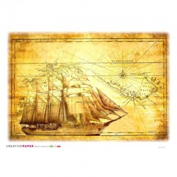 Antique Map Tall Ship Rice...