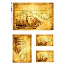 Antique Map Ship Rice Paper